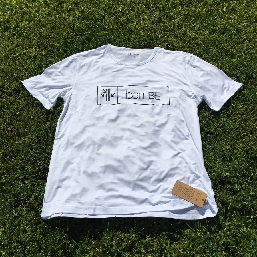 Image of Mens White Logo Tee