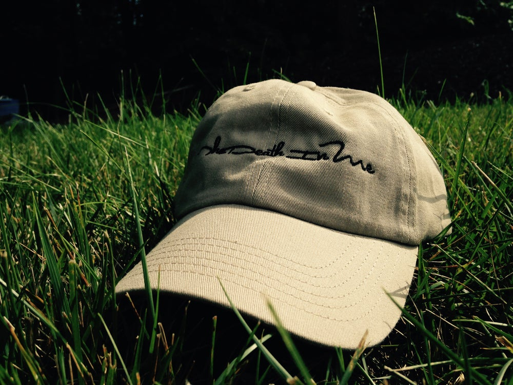 "Image of Scripted Logo ""Dad Hat"" (Tan)"