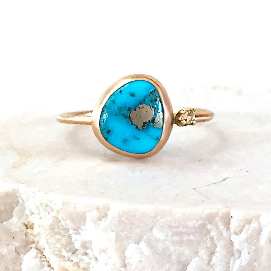 Image of Sleeping Beauty Turquoise & Diamond Ring - 14k Yellow Gold Ring - US Size 6