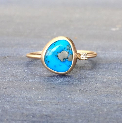 Image of Sleeping Beauty Turquoise & Diamond Ring - 14k Yellow Gold Ring - US Size 6