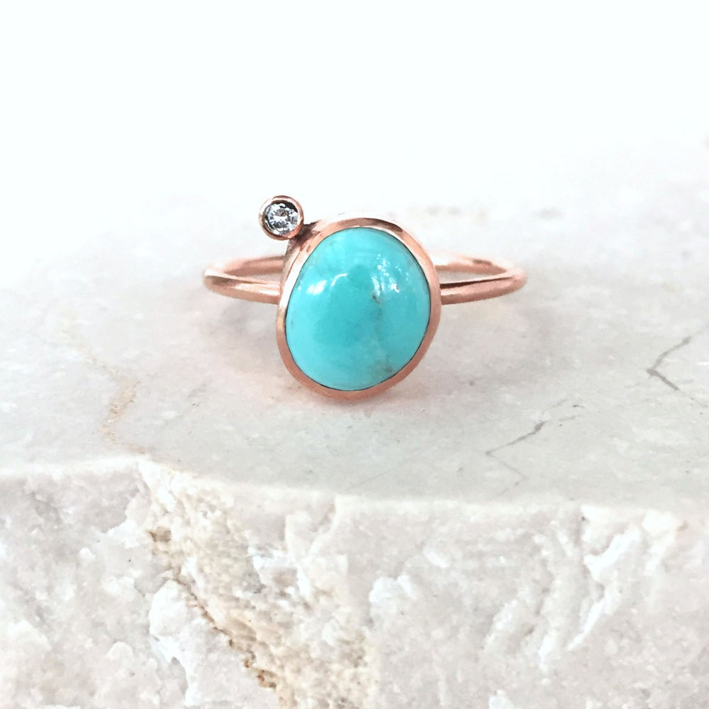 Image of Turquoise, Diamond and Rose Gold Ring - Fox Turquoise - Size 7.25