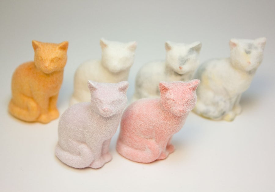 Image of Ceramic Cat Figurine, Fuzzy