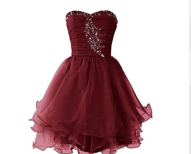 68431500f3f73 Image of Lovely Sweetheart Burgundy Maroon Short Prom Dresses, Homecoming  Dresses, Party Dresses ...