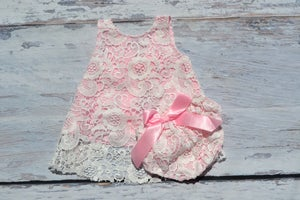 Image of Pink Lace Swing Top & Bloomers, Flower Girl, Vintage Baby Girl Toddler, Shabby Chic