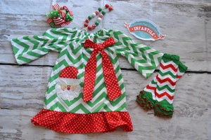 Image of Christmas Santa Dress Green Chevron