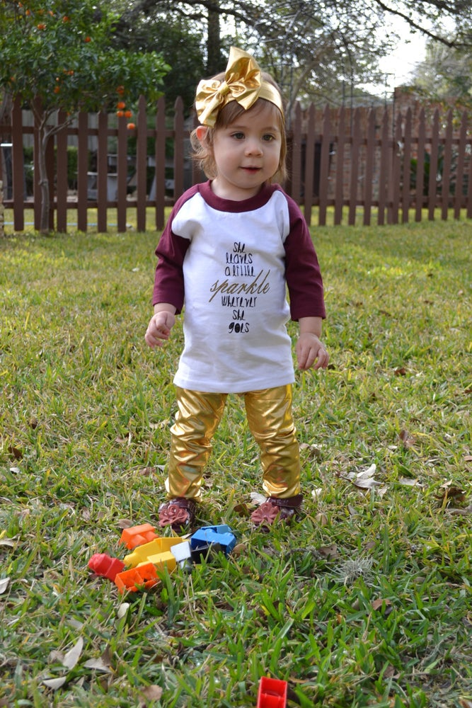 Image of She Leaves a Little Sparkle Wherever She Goes, Gold Sparkle T-Shirt, Baby, Toddler, Raglan, Baseball