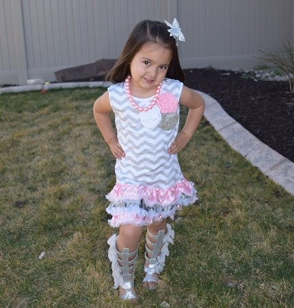 Image of Gray Chevron Tank Top Dress with Satin Ruffles, Flower Accents, Toddler and Girl Spring & Summer