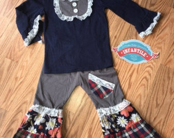 Image of Holiday Jane Girls Outfit, Baby Toddler Girl Top & Ruffle Bell Plaid Floral Pants