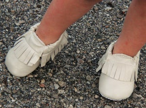 Image of Neutral Cream Ivory Baby Moccasins with Fringe, Soft Sole, Photo Prop, First Birthday