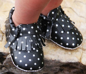 Image of Black & Silver Polka Dot Baby Moccasins with Fringe, Soft Sole, Bling, Photos, S.A. Spurs Baby