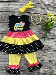 Image of School Bus Outfit, Dress Tunic Top & Ruffle Capris, First Day of School