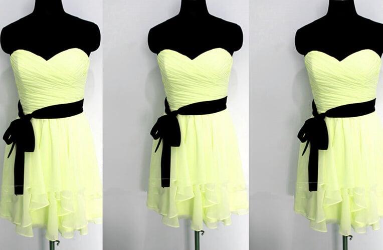 Cute Light Blue Chiffon Sweetheart Prom Dresses, Bridesmaid Dresses, Party Dresses