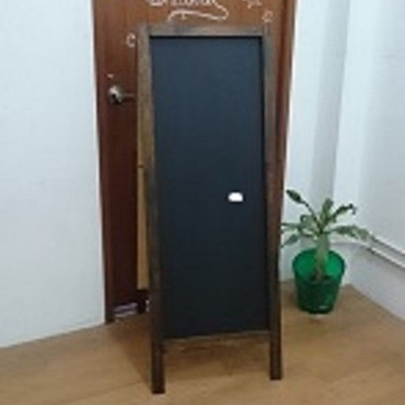 Image of Long Double Sided Standing Chalkboard with Walnut Frame