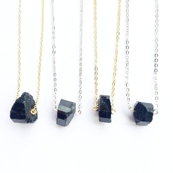 Image of Black Tourmaline Pendant - gold plated / silver tone brass SOLD OUT