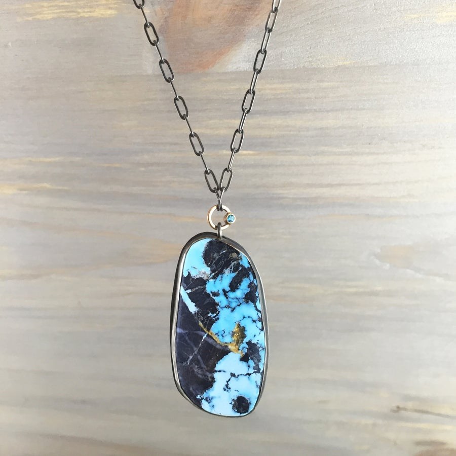 Image of Natural Blue Moon Turquoise & Topaz Necklace