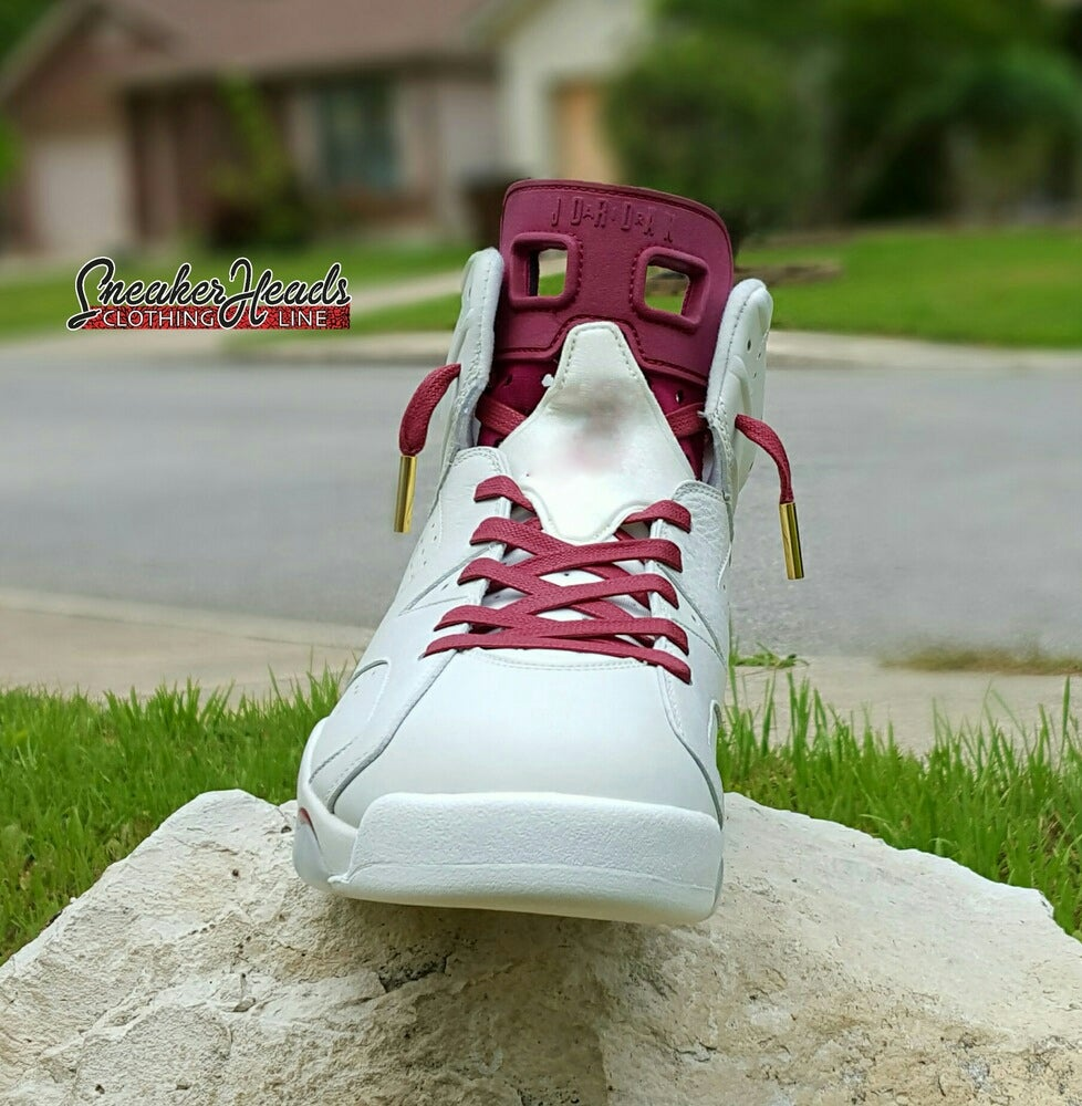 "Image of Exclusive ""Wax (Maroon)"" Custom Laces (Gold/Silver Aglets)"