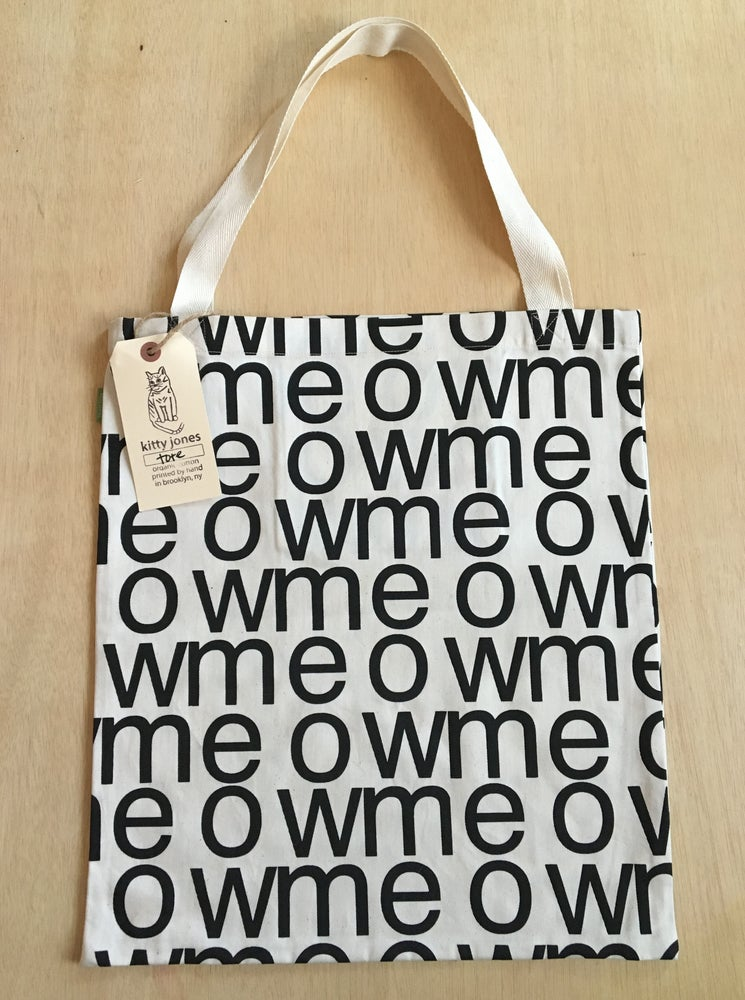 Image of meow tote (black on unbleached twill)