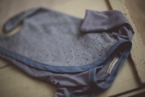 Image of Blue Knit Snap & Tie Sleeper
