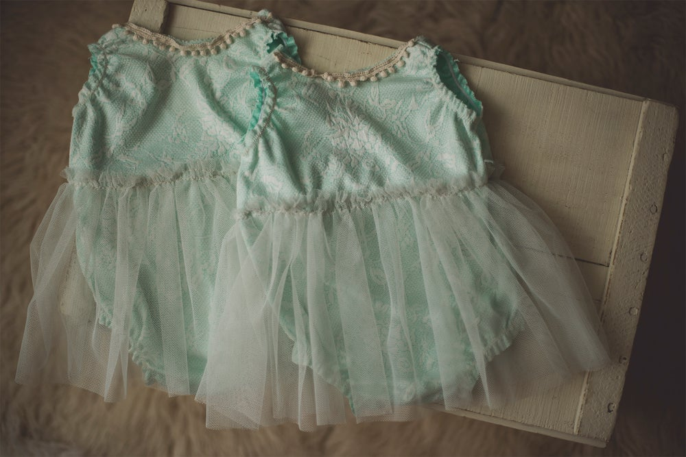 Image of Mint Skirted Romper - Sitter