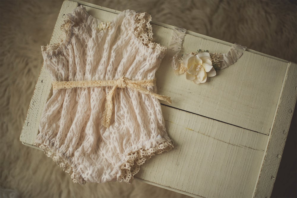 Image of Cinched Waist Romper and Tieback - Sitter