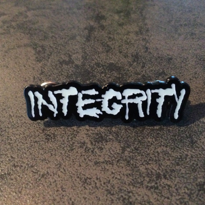 "Image of INTEGRITY ""splatter logo"" pin"