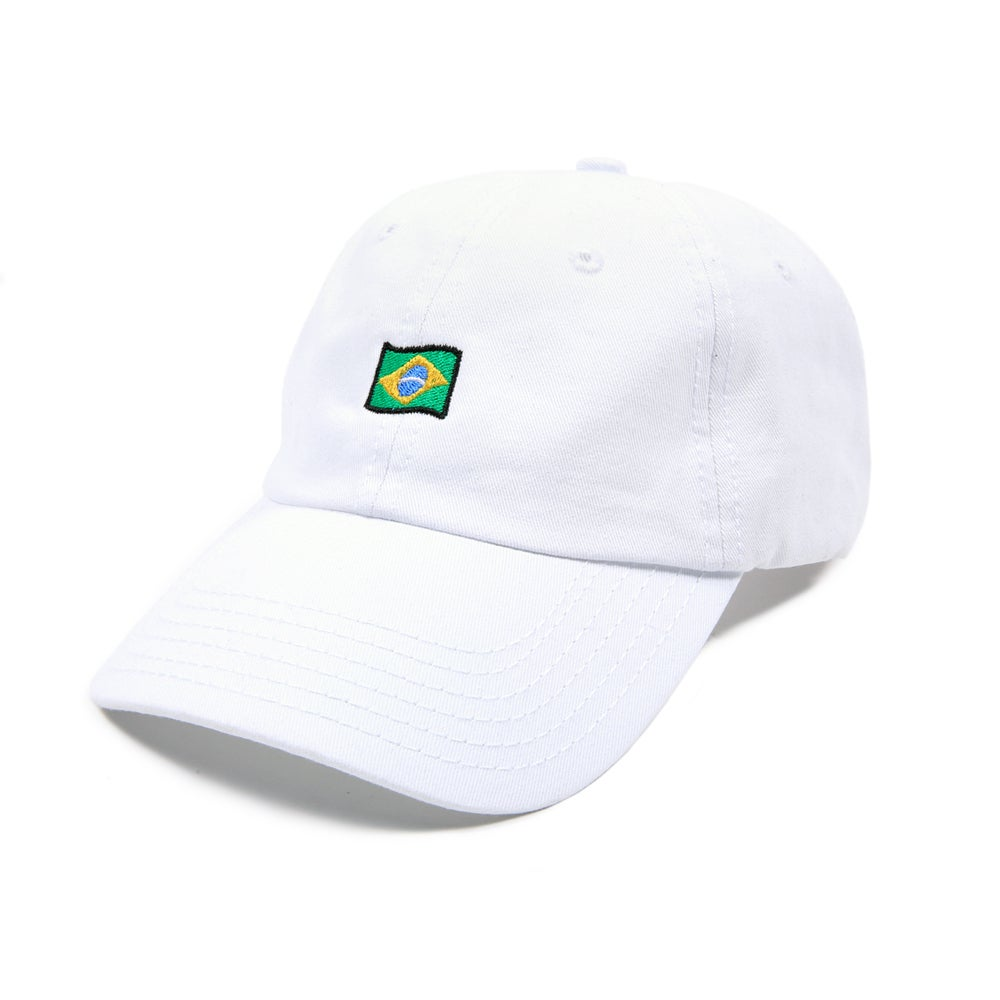 Image of Brazil Low Profile Sports Cap - White