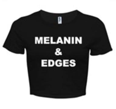 Image of MELANIN & EDGES BLACK/WHITE CROP TOP