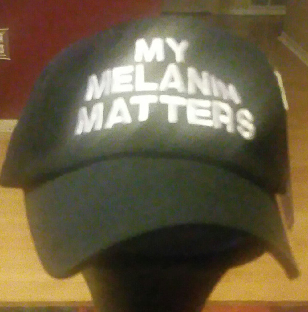 Image of MY MELANIN MATTERS BLACK/WHITE DAD HAT