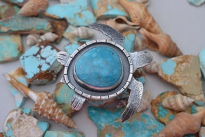 Image of Kingman Turquoise and Sterling Silver Large Sea Turtle
