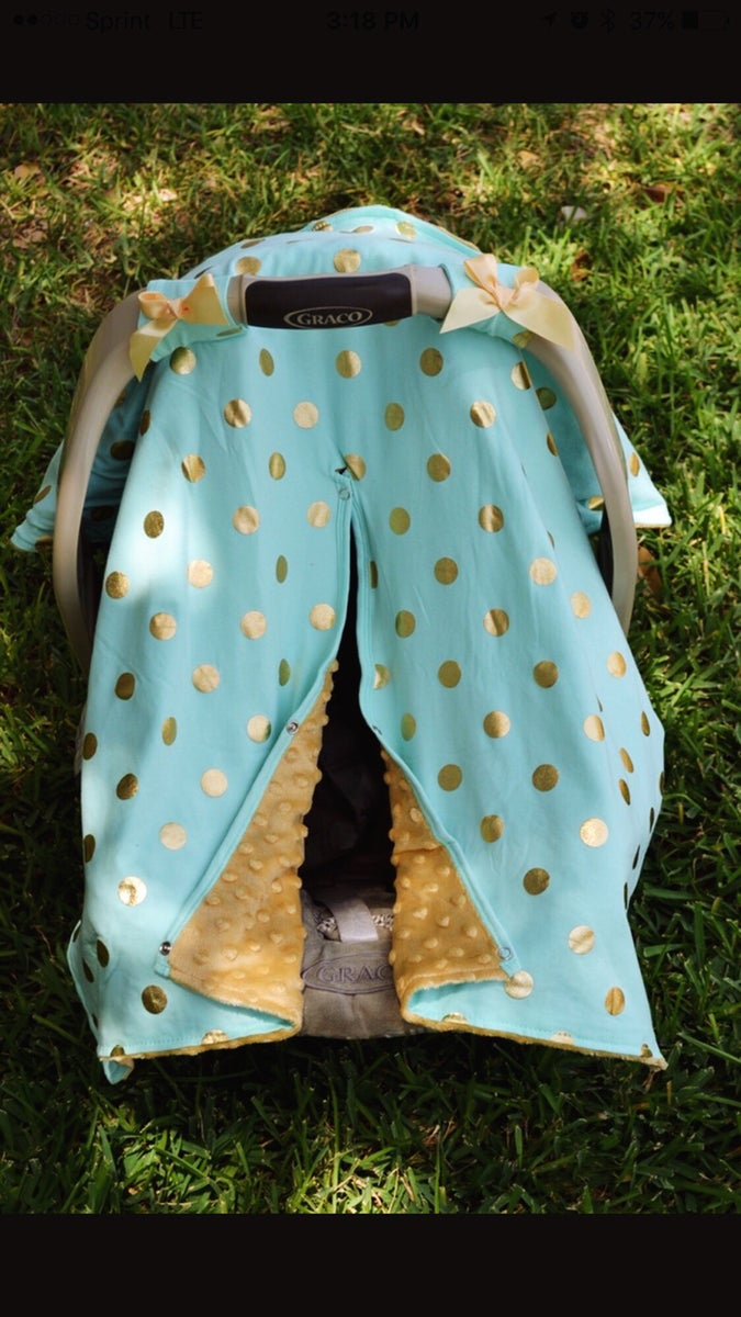 Miraculous Gold Dot Glamour Minky Baby Car Seat Canopy Cover Mint Blue Minky Baby Shower Gift Ready To Ship Forskolin Free Trial Chair Design Images Forskolin Free Trialorg