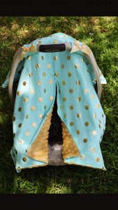 Image of Gold Dot Glamour Minky Baby Car Seat Canopy Cover: Mint Blue Minky, Baby Shower Gift, Ready to Ship