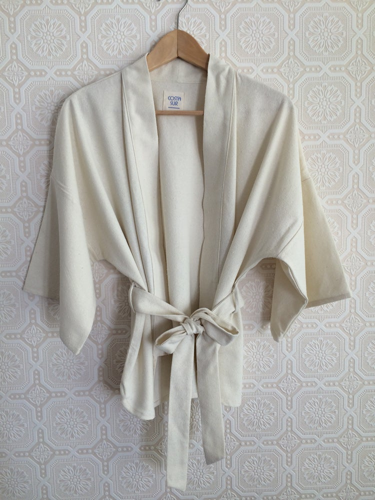 Image of COSTA SUR- Silk Wrap Top w/handloomed belt