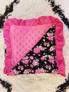 Image of Black Vintage Floral and Pink Minky Baby Blanket with Pink Satin Ruffles, Gift, Photos, Welcome Baby
