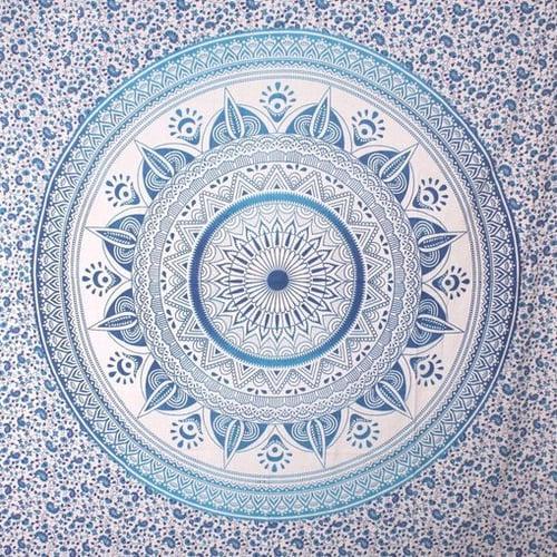 Image of Blue Sun Mandala Throw or Throw Set from