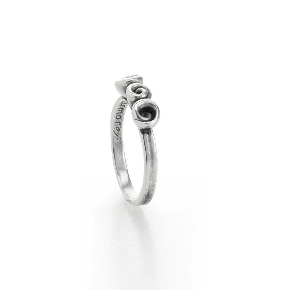 Image of three rose ring . sterling silver