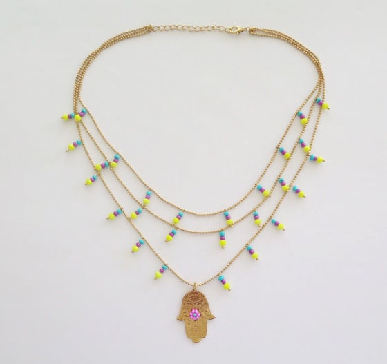 Image of Hamsa Triple Yellow, Turquoise and Purple Necklace