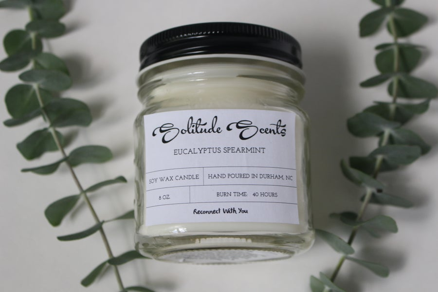 Image of 8 oz. Eucalyptus Spearmint Soy Wax Mason Jar Candle