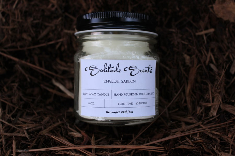 Image of 8 oz. English Garden Soy Wax Mason Jar Candle