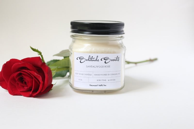Image of 8 oz. Sandalwood Rose Soy Wax Mason Jar Candle