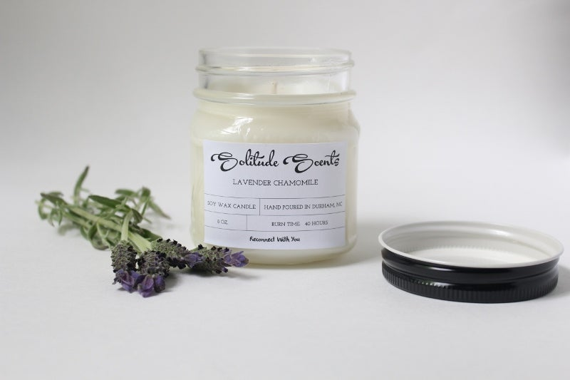 Image of 8 oz. Lavender Chamomile Soy Wax Mason Jar Candle