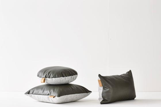 Image of SALE! - LAST ONE - Leather Tab Cushion Cover - Olive Lumbar WITH GREY FELT BACK