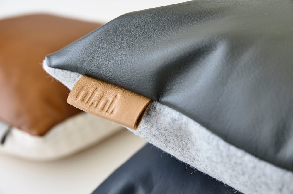 Image of Leather Tab Cushion Cover - Grey Square