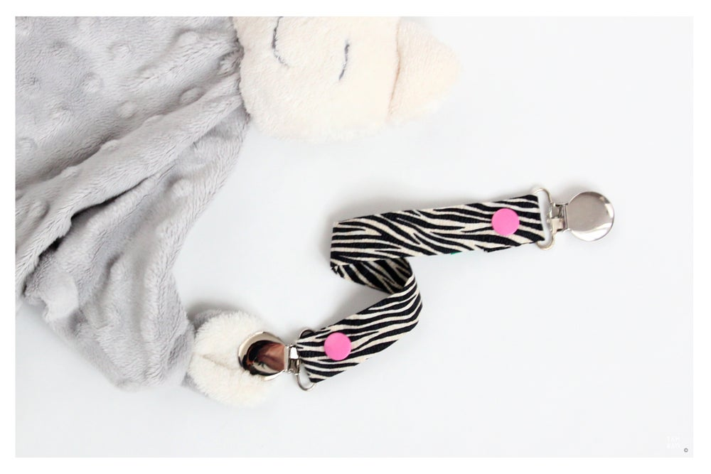 Image of Attache tétine ou doudou Girly Zebra - DERNIERES PIECES!