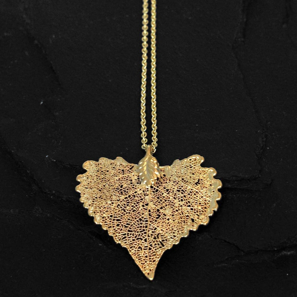 Image of Dipped cottonwood leaf necklace in gold plated brass