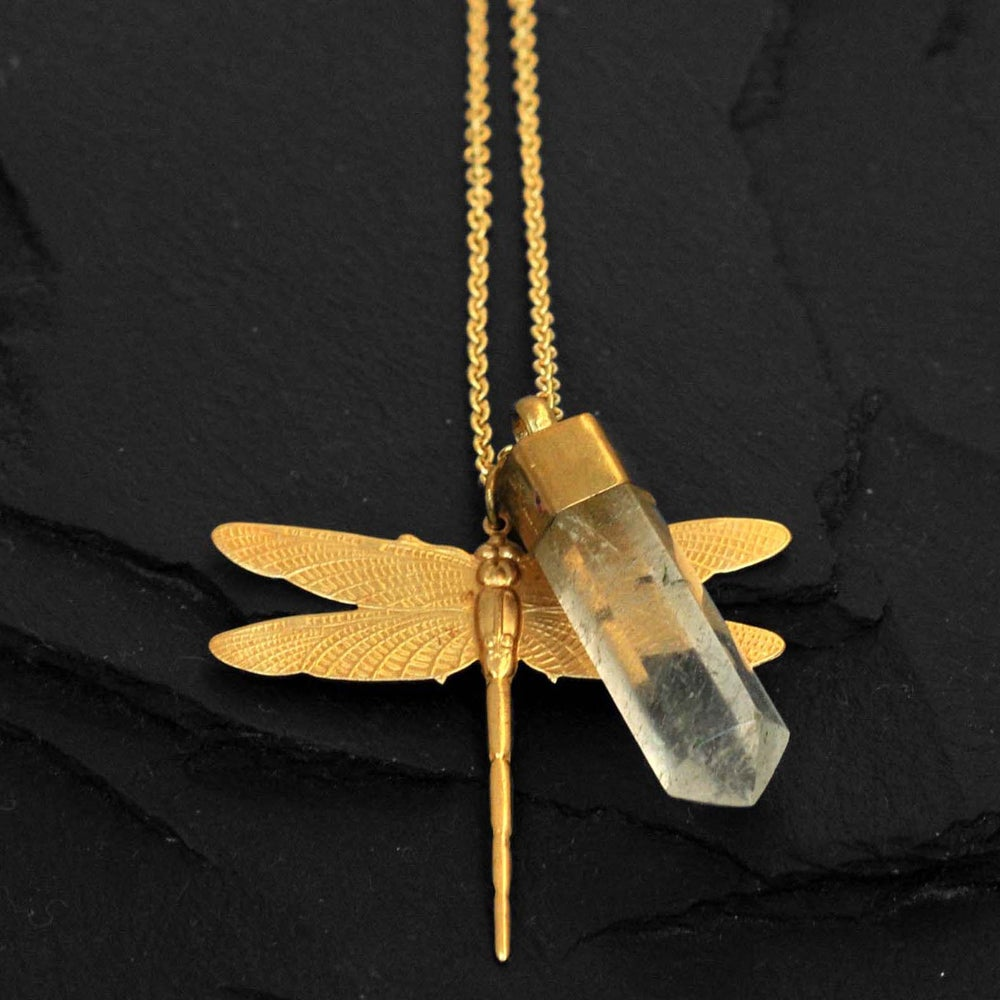 Image of Dragonfly necklace with crystal in brass