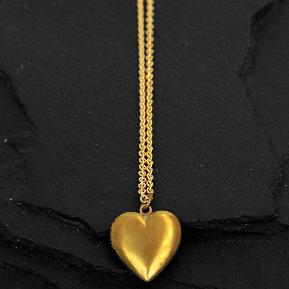 Image of Heart locket necklace in brass