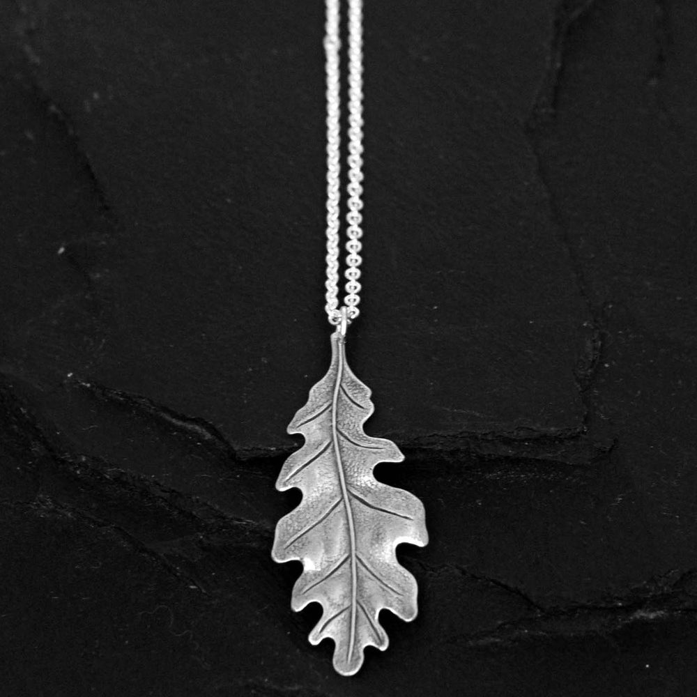 Image of Oak leaf necklace in silver plated brass