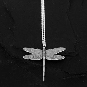 Image of Dragonfly necklace in silver plated brass