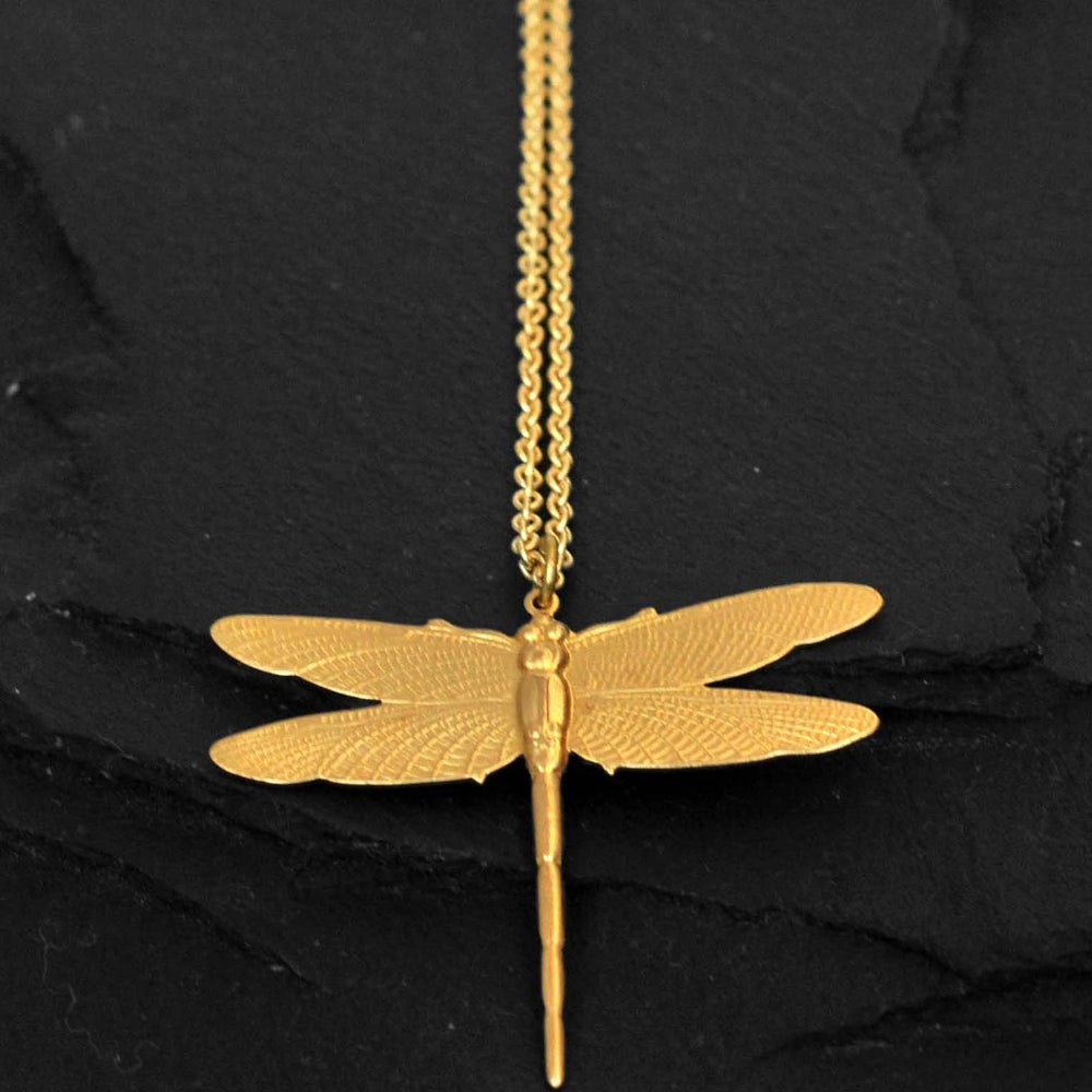 Image of Dragonfly necklace in brass