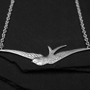 Image of Swallow necklace in silver plated brass